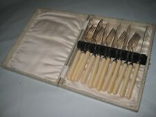 VINTAGE RETRO SILVER PLATED KNIVES & FORKS CUTLERY SET FISH? BOXED TV FILM PROP