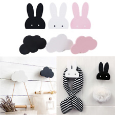 Nordic Wooden Rabbit/Cloud Hooks Wall Hanger Sticker Holder Kids Room Decoration