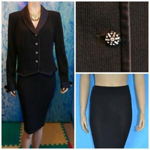 St. John Evening Black Jacket & Skirt L 10 12 2pc Suit Rhinestones Satin Trims