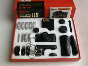 Pentax auto 110 camera complete with lenses, flash, winder, IB & BOX, US SELLER