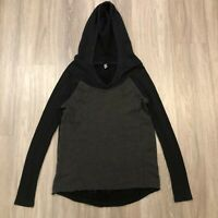 Fox Racing Womens Small Cable Knit Sweater Hoodie Charcoal Gray Black