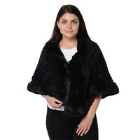 Black Stripe Pattern Faux Fur Kimono for Ladies Cardigan Poncho Polyester