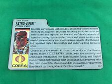 1988 Astro Viper v.1 FILE CARD #2 gray filecard bio original GI Joe Cobra