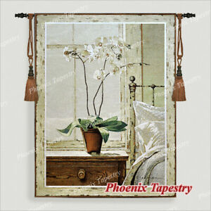 Orchid Tapestry Wall Hanging Jacquard Weave Large Gobelin Aubusson 100% Cotton