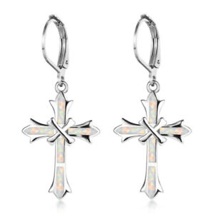 Fashion Cross White simulated Opal Inlay Dangle Drop Earrings Silver Jewelry 01