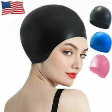 Silicone Long Hair Adult Swimming Soft Pool Bathing Cap Swim Caps Unisex US Ship