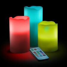 """3 COLOR CHANGE NO FLAME CANDLE 4"""" 5"""" 6"""" LAMP SET w REMOTE ROMANTIC BIRTHDAY GIFT"""
