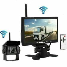 """Funk Kabellos Rückseiten Kamera+7"""" LCD Monitor Rückfahrkamera Set Bus LKW 12-24V"""