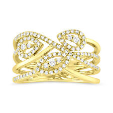 Cocktail Ring Right Hand Open Womens 14K Yellow Gold Diamond Crossover Statement