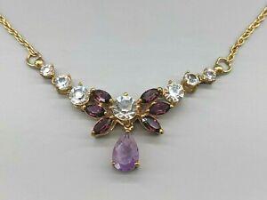 "Fancy 18K Gold Plated Amethyst Purple Clear Rhinestone Deco Collar Necklace 17"""