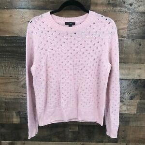 J. Crew Women's Pink Open Weave Crew Neck Pullover Sweater Size L