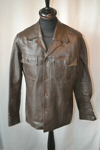 Vintage 1970's brown leather safari jacket size large mod soul fight club