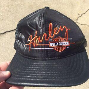 Vintage Harley Davidson Motorcycle Hat Cap SnapBack Biker Engine NOS Bike Shield