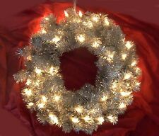 """SILVER TINSEL 24"""" WREATH with Clear Mini Lights Christmas UL Electric In/Outdoor"""