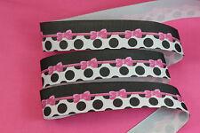 5 yards 1'' Pink Bow Black White Polka Dot Printed Grosgrain Ribbon