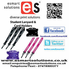 10 x STUDENT Neck Lanyards and Card Holders, BLACK or PURPLE, (FREE P&P)
