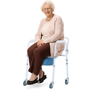 Mobility Assist Commode Shower Transport Medical Rolling Chair Over The Toilet