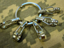 U.S. Seller 5Pcs Sf Edc Snap Clip Hook Keychain with Key Ring Chrome finish