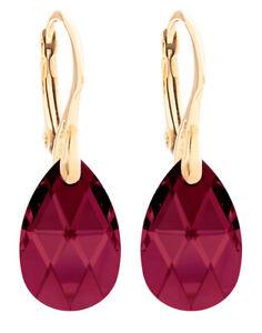Ah! Jewellery® 16mm Ruby Pear Crystals From Swarovski® 24K Gold Vermeil Earrings
