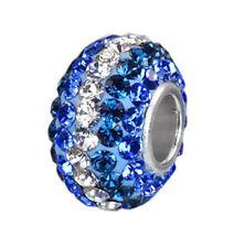 MATERIA Strass Bead 925 Silber Hülse Kristall blau weiß für Armband oder Kette