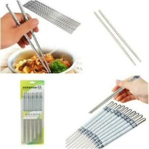 5 Pairs Stainless Steel Metal Chopsticks with Chinese Blue Pattern - NEW+UK post