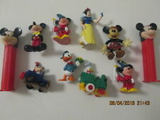 """Assorted Disney rubber figurines, Pez, train and car  2"""" to 4"""" 10 items in all"""