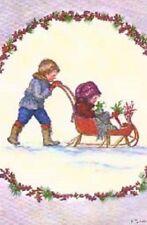 1983 Tasha Tudor Vintage Kids in Sleigh Christmas POST Card MINT Irene Dash TC34