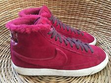 Nike Blazer X Liberty Women's Wine Red Fleece Suede Hi-Top Trainers UK 4 EU 37.5