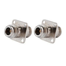 2-Pack N Type Female to N Type Female 4 Hole Flange Mount Connector Adapter