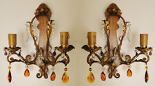Antique french iron and crystal pair of sconces. Circa 1950