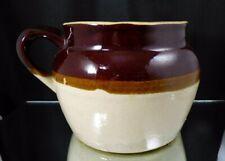 Vintage Brown Cream Stoneware Crock Bean Pot Vase One Loop Handle No Lid USA