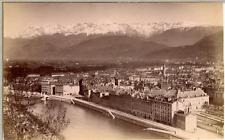 France, Grenoble et les montagnes  Vintage albumen print.  Tirage albuminé