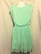 IZ Byer Mini Dress Light Green with White Polka Dots Size S Polyester Lined