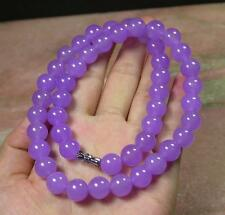 """CHINESE Icy Lavender JADE 10 mm Bead Beads Necklace 18"""""""