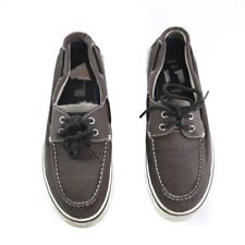 Sperry Top Sider Black Canvas Boat Shoes Casual Loafers 2-Eye Mens 9.5 M