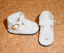 Doll Shoes WHITE 44mm T-Straps for Ellowyne, Patience & NuMood