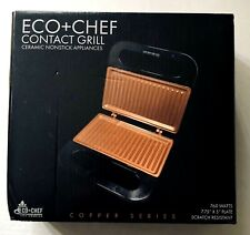 Eco + Chef Contact Grill 760 Watts Copper Series Ceramic Nonstick Appliance NEW