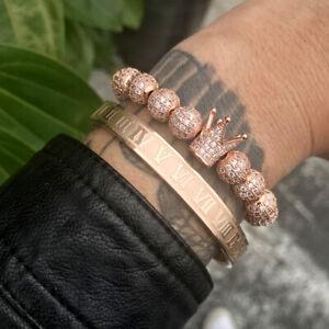 3pcs/set Royal Roman Bangle Bracelet For Men stainless steel Rectangle Bracelet