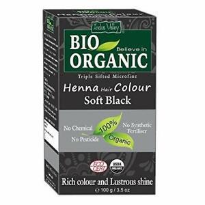 Bio Organic 100% Soft Black Henna Hair Color (100gram)-completed hair treatment