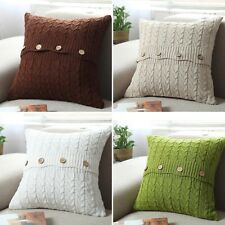 New Home Decor Sofa Bed Knitted Pillow Cushion Twisted stripes w buttons 45x45cm