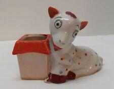Billy Goat Toothpick Holder Match Holder Polka Dots Orange Lusterware Vintage