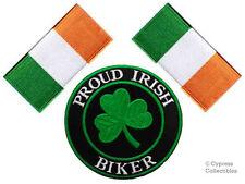 LOT of 3 - PROUD IRISH BIKER IRON-ON PATCH IRELAND FLAG embroidered IRON-ON EIRE