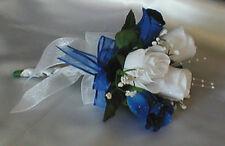 White/Royal Blue Rose Flower Girl/Toss Bouquet