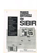 PUBLICITE ADVERTISING  1962    SIBIR   le mini frigo