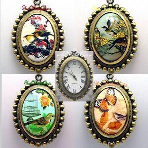 Vintage Antique Miniature Art Birdwatching Ornithology Pendant Necklace Watch