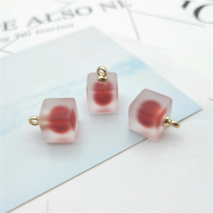 10pcs Resin Square Jelly Frosted Beads pendant earrings jewelry accessories 12mm