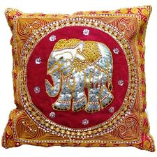 Handmade Pillow Cover Thai Elephant Embroidery Cushion : Red & Sequin