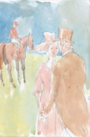 Noel Dowling - Mid 20th Century Watercolour, Figures at Horse Races