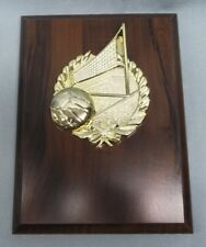 plaque gold volleyball relief 6 x 8 cherry finish board trophy award