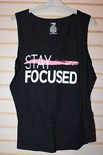 NEW WOMENS PLUS SIZE 4X BLACK STAY FOCUSED  MOTIVATIONAL EXERCISE TANK TOP SHIRT